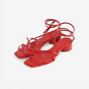 Red sandals ankle wrap around